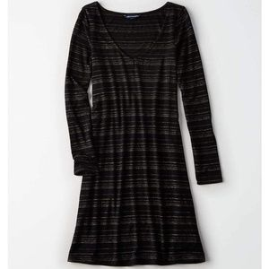 AE Black Shimmer Stripe Dress
